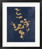 Framed Botanical Study II Gold Navy