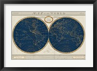 Framed Torkingtons World Map Indigo Globes