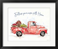 Framed Americana Mood VIII Red Truck Blue