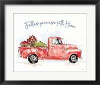 Framed Americana Mood VIII Red Truck Blue