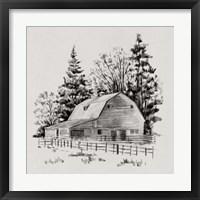 Framed Distant Barn Sketch I