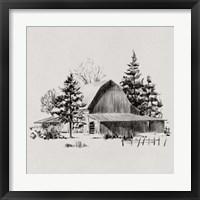 Framed Distant Barn Sketch II