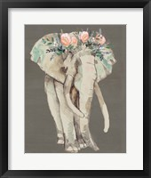Framed Flower Crown Elephant I