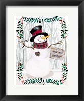 Framed Folk Snowman Forest I