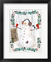 Framed Folk Snowman Forest II