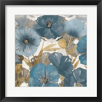 Framed Blue and Gold Poppies I