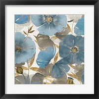 Framed Blue and Gold Poppies II