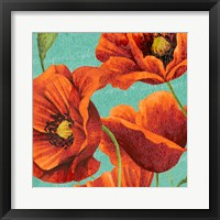Framed Red Poppies on Teal I