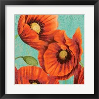 Framed Red Poppies on Teal II