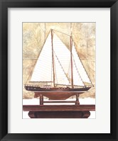 Framed Yacht and Antique Map I