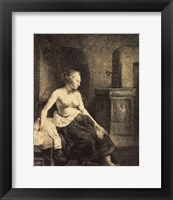 Framed Half-Naked Woman by a Stove, 1658