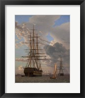 Framed Russian Ship of the Line Azov and a Frigate at Anchor in the Roads of Elsinore, 1828
