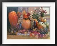 Framed Pumpkins on the Hearth