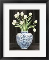 Framed Blue and White Tulips Black I