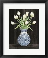 Framed Blue and White Tulips Black II