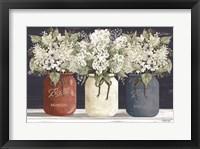 Framed Red, White & Blue Jar Trio