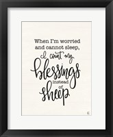 Framed Count Your Blessings Instead of Sheep