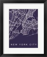Framed NYC Street Blue Map