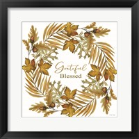 Framed Grateful Blessed Fall Wreath