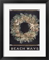 Framed Beach Ways Shell Wreath