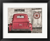 Framed Red Truck with Texaco Sign