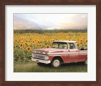 Framed Truck with Sunflowers