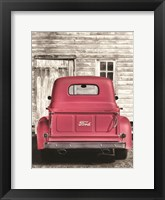 Framed Red Ford at Barn