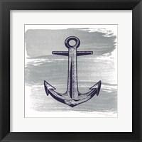 Framed Brushed Midnight Blue Anchor