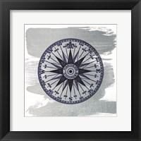Framed Brushed Midnight Blue Compass Rose