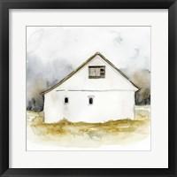 Framed White Barn Watercolor I