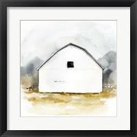 Framed White Barn Watercolor II