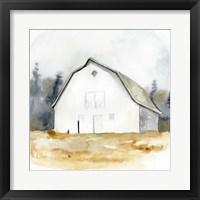 Framed White Barn Watercolor III