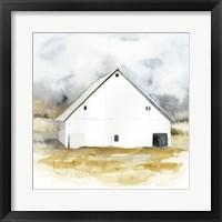 Framed White Barn Watercolor IV