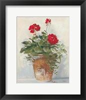 Framed Potted Geraniums II Light