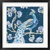 Framed Peacock Allegory IV Blue v2