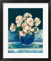 Framed Peonies in Cobalt Vase No Fruit