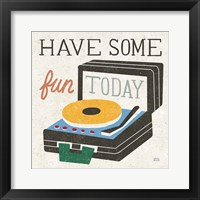 Retro Desktop Record Player v2 Framed Print