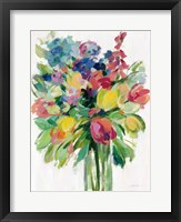 Framed Earthy Colors Bouquet II White