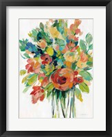 Framed Earthy Colors Bouquet I White