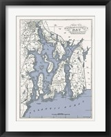 Framed Narragansett Bay Map II