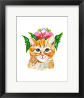 Framed Cat with Flower Crown