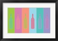 Framed Colorful Mod Wine Bottles