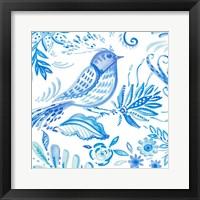 Framed Birds in Blue I
