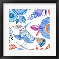 Framed Bird with Flowers I