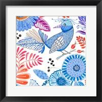 Framed Bird with Flowers II