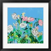 Framed Summer Blooms on Blues I