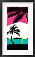 Framed Pink Sunset Surf Panel