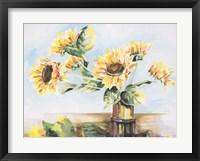 Framed Sunflowers on Golden Vase