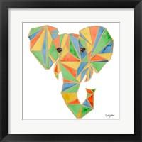 Framed Vibrant Retro Elephant