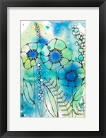 Framed Blue Watercolor Wildflowers I